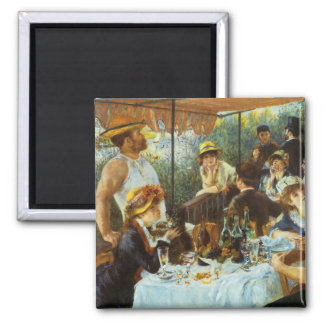 Luncheon of the Boating Party by Pierre Renoir Square Magnet