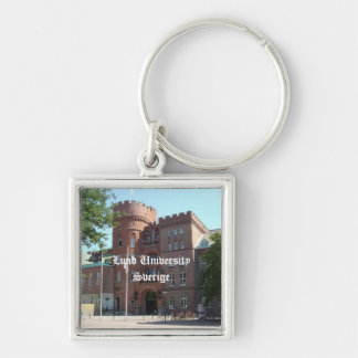 Lund University Castle Silver-Colored Square Keychain