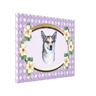Lundehund on Lavender Weave Oval with Flowers Canvas Print