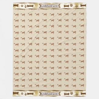 Lundehund, Tan Leaves dogbones and pawprints Fleece Blanket