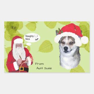 Lundehund w/Santa makin His Naughty or Nice List Sticker