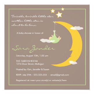 Lune et étoiles d invitation de baby shower