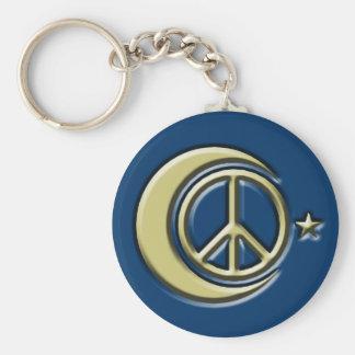 Lune et étoiles pour la paix porte-clé rond