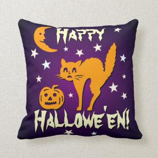 Lune orange heureuse de Jack-o -lantern de chat de Coussin
