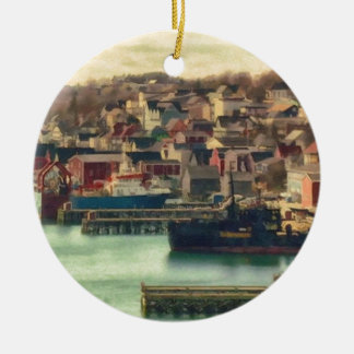 Lunenburg Nova Scotia by Shawna Mac Ceramic Ornament