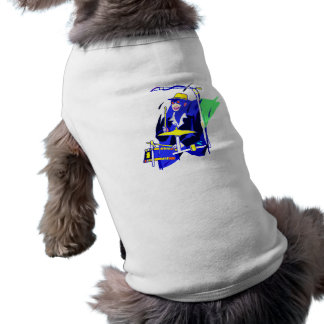 Lunettes de soleil de batteur bleues et graphique  vêtement pour chien