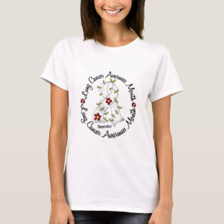 Lung Cancer Awareness Month Flower Ribbon 3 T-Shirt