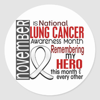 Lung Cancer Awareness Month Ribbon I2.2 Round Sticker