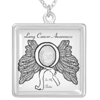 Lung Cancer Awareness Personalize Silver Plated Necklace