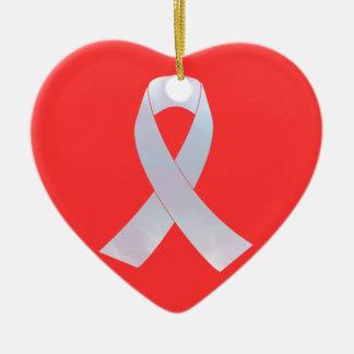Lung Cancer Awareness Ribbon Ceramic Heart Ornament