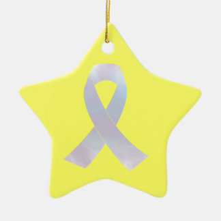 Lung Cancer Awareness Ribbon Ceramic Star Ornament