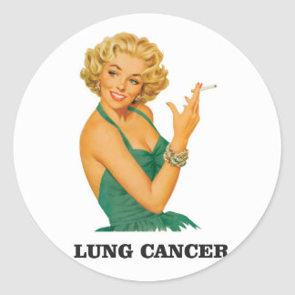 lung cancer girl round sticker