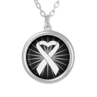Lung Cancer Heart Ribbon Round Pendant Necklace