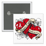 Lung Cancer Hope Faith Dual Hearts Pinback Buttons