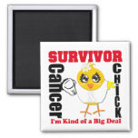 Lung Cancer Survivor Chick Ribbon Square Magnet