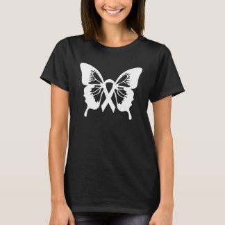 Lung Cancer White Butterfly t-shirt