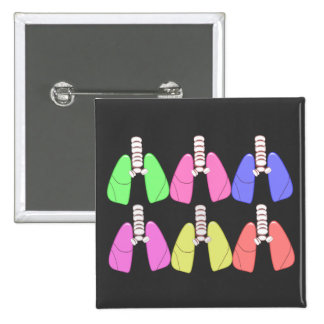 Lungs Multi Colored--Respiratory Therapist Design 2 Inch Square Button