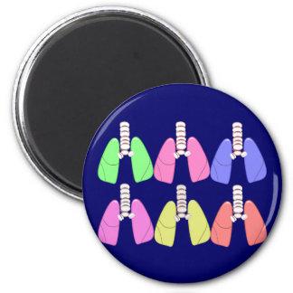 Lungs Multi Coloured--Respiratory Therapist Design 2 Inch Round Magnet