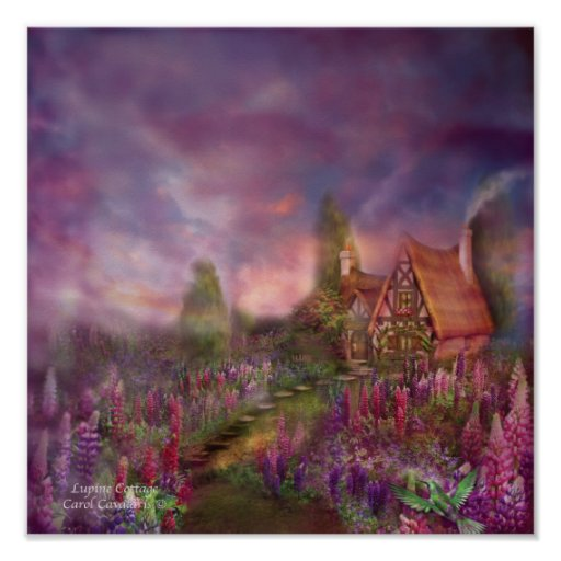 Lupine Cottage Art Poster/Print Poster