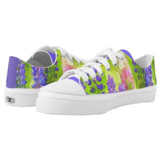 Lupine Painting - Original Flower Art Low-Top Sneakers