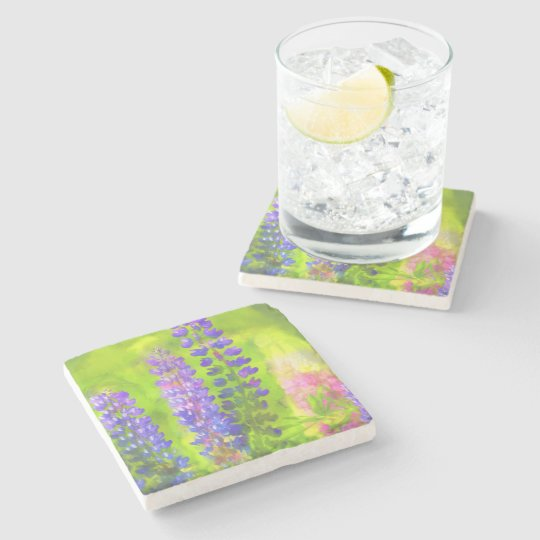Lupines Stone Beverage Coaster
