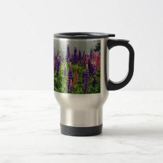 Lupins in full bloom travel mug