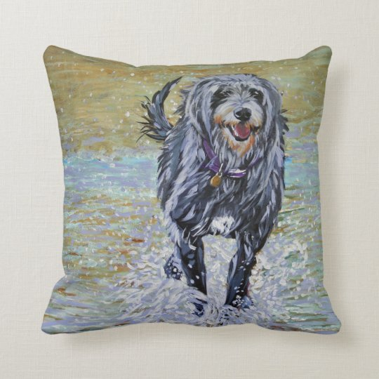 Lurcher on the beach cushion