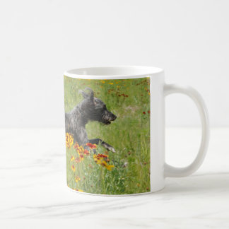 Lurcher Running Through A Flower Field - Mug