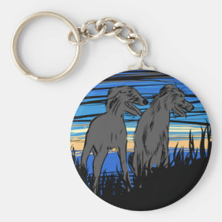 Lurchers overseeing the world keychain