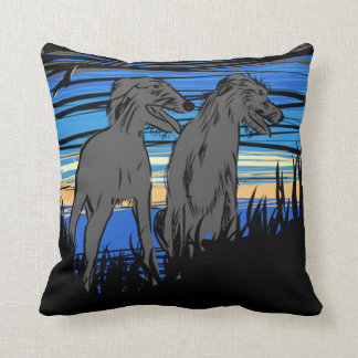 Lurchers overseeing the world throw pillow