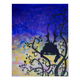Lurking Dawn dragon silhouette fantasy art poster