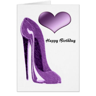 Luscious Lilac Stiletto High Heel Shoe and Heart Card