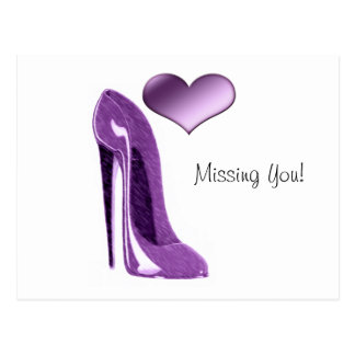 Luscious Lilac Stiletto High Heel Shoe and Heart Postcard