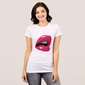 Luscious Lips Fitted Black Ladies T-Shirt