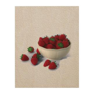Luscious Strawberries Wood Print