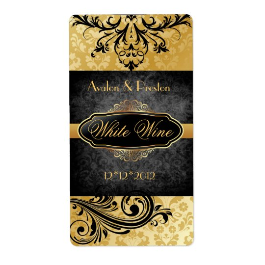 Luscious Vintage Gold Scroll Wedding Wine Label