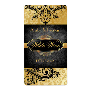 Luscious Vintage Gold Scroll Wedding Wine Label Shipping Label