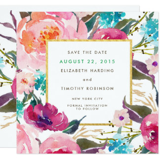 """Lush Bouquet Wedding Save the Date 5.25"""" Square Invitation Card"""