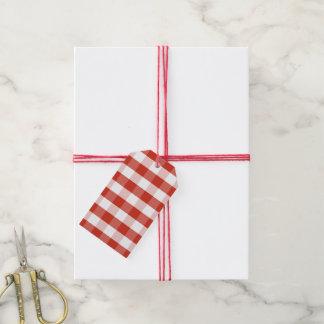 Lush Dahlia Red & White Gingham Check Plaid Gift Tags