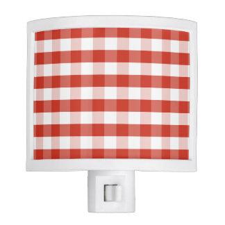 Lush Dahlia Red & White Gingham Check Plaid Night Light