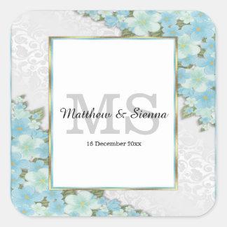 Lush floral wedding square sticker