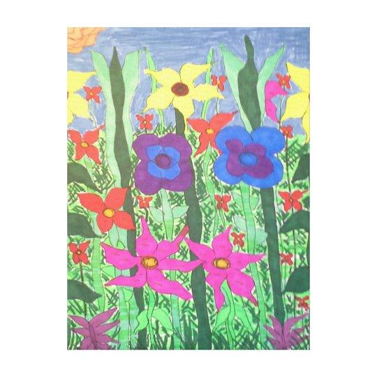 Lush Garden Floral Folk Art Canvas Print