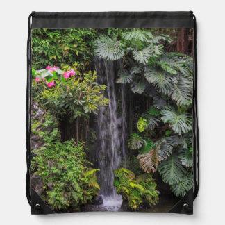 Lush Garden Waterfall, China Drawstring Bag