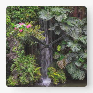 Lush Garden Waterfall, China Square Wall Clock