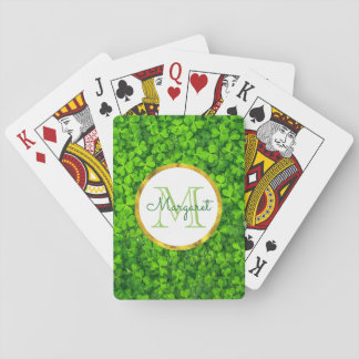 Lush Green Clovers with FAUX Gold Foil & Monogram Poker Deck