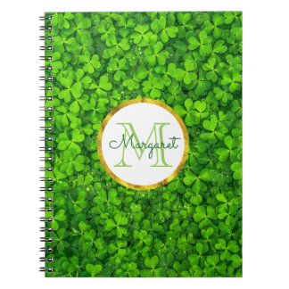 Lush Green Clovers with FAUX Gold Foil & Monogram Spiral Notebook