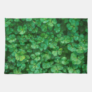 Lush Green Clovers with Water Drops Kitchen Towel