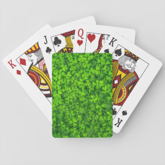 Lush Green Clovers with Water Drops Poker Deck