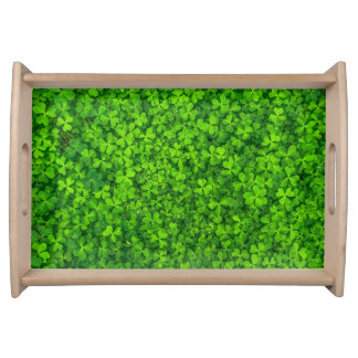 Lush Green Clovers with Water Drops Serving Tray