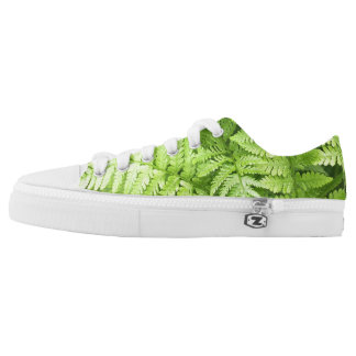 Lush Green Fern Fronds Low-Top Sneakers